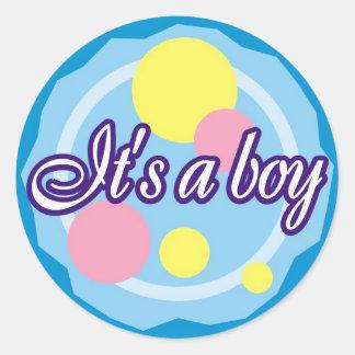 It's A Boy Classic Round Sticker