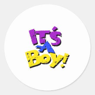 Its A Boy Classic Round Sticker