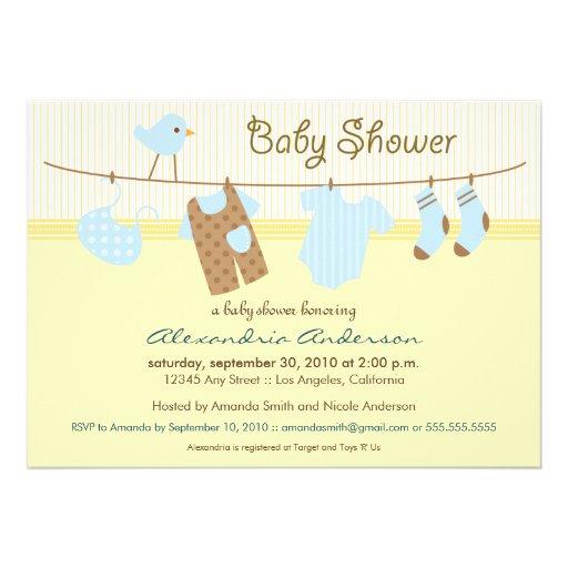 It's a Boy! Clothesline Baby Shower Invitation