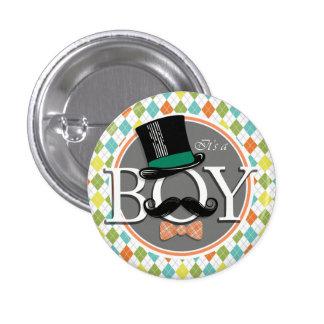 It's a Boy!  Colorful Argyle Button