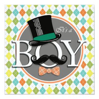 It's a Boy!  Colorful Argyle Card