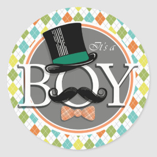 It's a Boy!  Colorful Argyle Classic Round Sticker