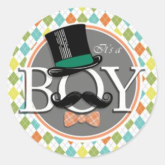 It's a Boy!  Colorful Argyle Classic Round Sticker
