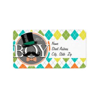 It's a Boy!  Colorful Argyle Address Label