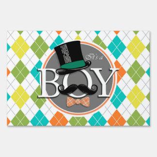 It's a Boy!  Colorful Argyle Yard Signs