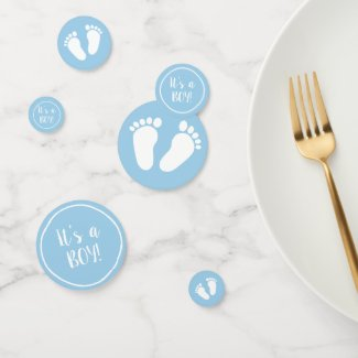 It's a boy cute blue baby feet baby shower party confetti