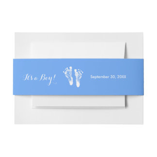 Its a Boy Cute Blue Newborn Baby Boy Footprints Invitation Belly Band
