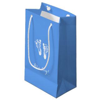 Its a Boy Cute Blue Newborn Baby Boy Footprints Small Gift Bag
