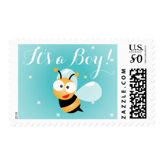 It's a Boy Cute Bumble Bee Blue Boy Baby Shower Postage