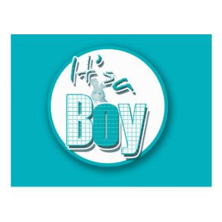 It's a boy cute bunny new birth announcement postcard