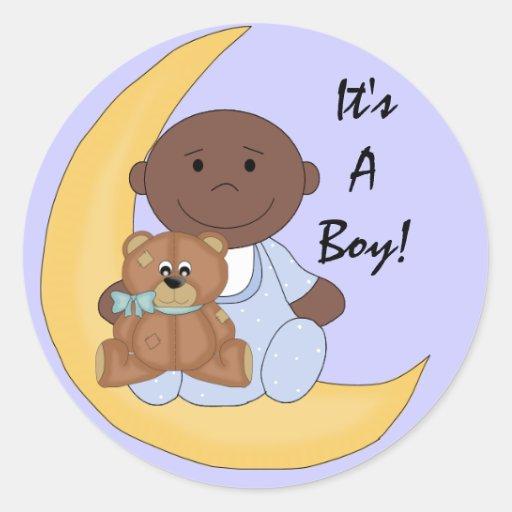 It's A Boy - Cute Dark Skin Baby Cartoon Round Sticker