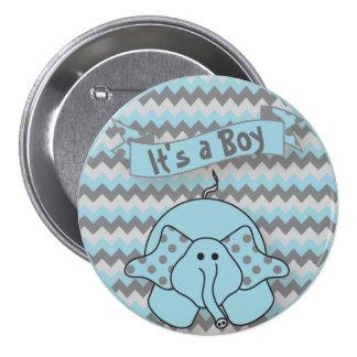 It's A Boy Cute Elephant 3 Inch Round Button