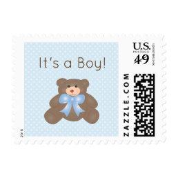 It's a Boy Cute Teddy Bear Boy Baby Shower Postage