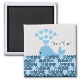 It's A Boy! Cute Whale 2 Inch Square Magnet