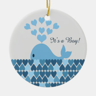 It's A Boy! Cute Whale Double-Sided Ceramic Round Christmas Ornament
