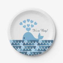 It's A Boy! Cute Whale Paper Plate