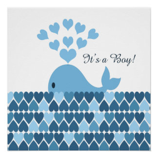 It's A Boy! Cute Whale Poster