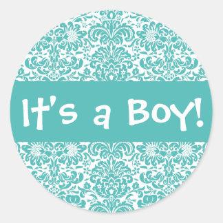 It's a Boy! Damask Envelope Sticker Seal
