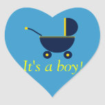 """It's a Boy!"" - Dark Blue Carriage [a] Heart Stickers"