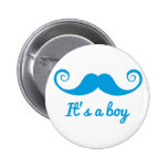 it's a boy design with blue mustache for baby pinback buttons