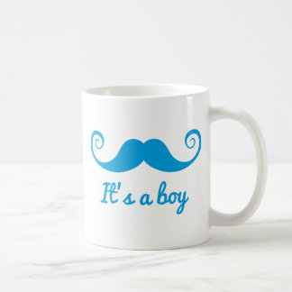 it's a boy design with blue mustache for baby coffee mug