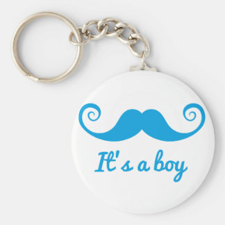 it's a boy design with blue mustache for baby key chains