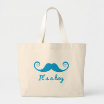 it's a boy design with blue mustache for baby large tote bag