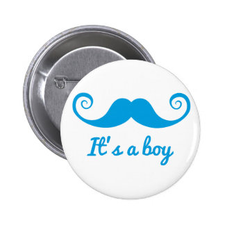 it's a boy design with blue mustache for baby pinback button
