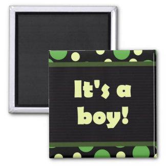 It's A Boy! Dot Design Dark Greens Magnet