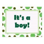 It's A Boy! Dot Design Light Green Postcards