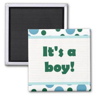 It's A Boy! Dot Design Light Teal Aqua Magnet