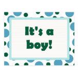 It's A Boy! Dot Design Light Teal Aqua Postcard