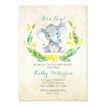 It's a boy elephant baby shower invitation
