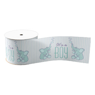 Its a boy elephant blowing heart bubbles ribbon