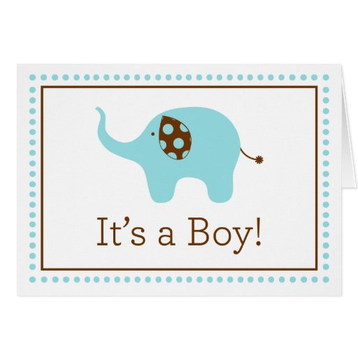 Quot It S A Boy Quot Elephant Note Card Zazzle