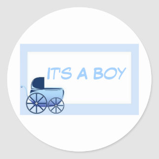 It's A Boy..Envelope Seals Classic Round Sticker