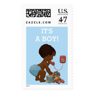 It's A Boy Ethnic Baby on Phone Baby Shower Postage