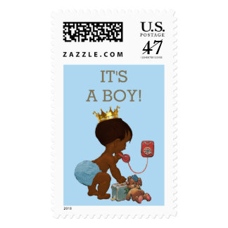 It's A Boy Ethnic Prince on Phone Baby Shower Postage