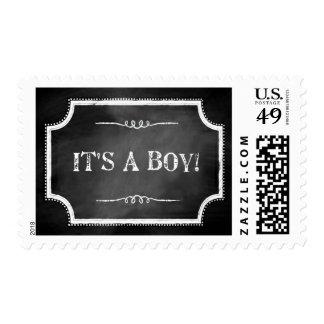 """""""It's A Boy"""" Faux Chalkboard Postage Stamps"""