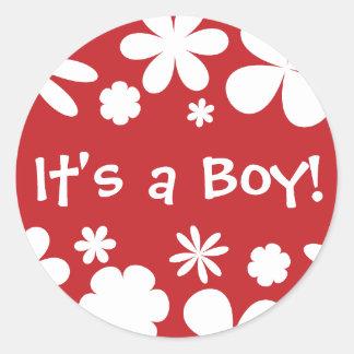 It's a Boy! Flower Power Envelope Sticker Seal
