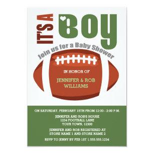 Amazing Itu0027s A Boy Football Couples Baby Shower Invitation