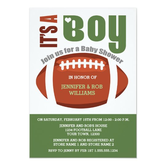 It's a Boy Football Couples Baby Shower Invitation ...