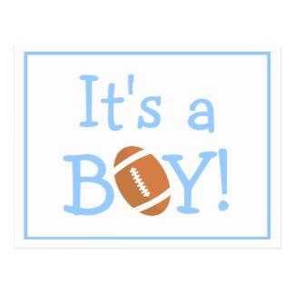 Its A Boy Football Theme Birth Announcement Postcard
