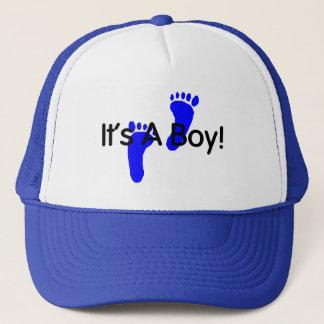 Its A Boy Footprints Trucker Hat