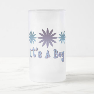 It's A Boy Frosted Glass Beer Mug