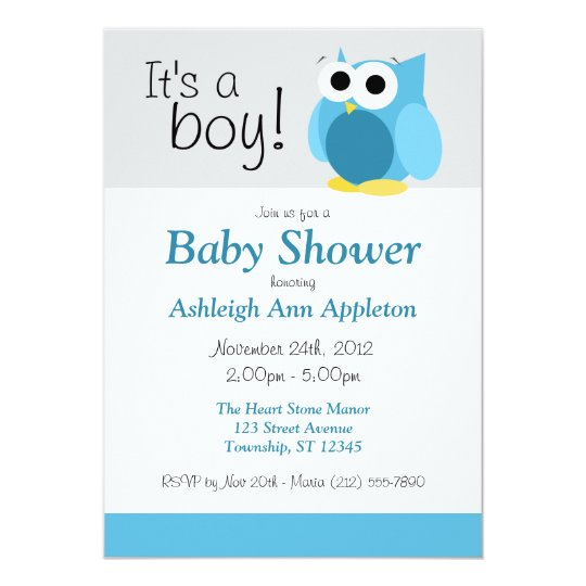 Its a boy funny blue owl baby shower invitations zazzle its a boy funny blue owl baby shower invitations filmwisefo