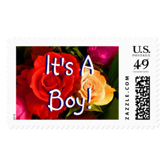 It's A Boy Gentle Red Yellow Roses I- Customizable Stamp