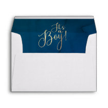 It's a Boy Gold Glitter Text Navy Blue Baby Shower Envelope