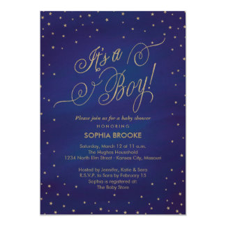 It's a Boy Gold Stars & Night Sky Baby Shower Card