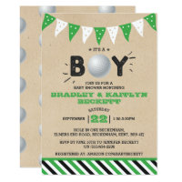 It's A Boy! Golf Themed Co-ed Baby Shower Invitation
